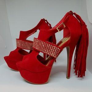 Shoedazzle Red Bling, Tassle Platform Shoes - 6.5